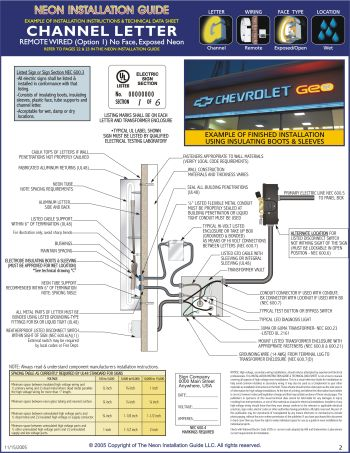 neon tech data sheet neon installation guide guide to installing neon signs kerley led channel letter wiring diagram at bayanpartner.co